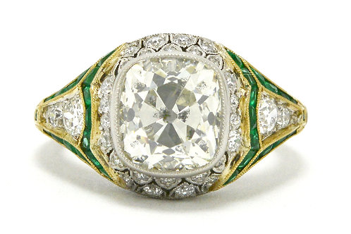 Irvine antique 3 carat old mine diamond engagement ring