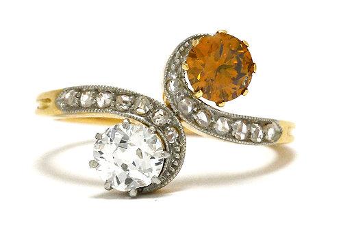Toi et moi antique engagement ring