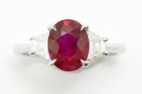 2 carat Burmese oval ruby engagement ring.