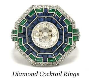 A diamond and gemstone cocktail ring