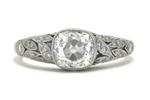 Santa Monica Antique 1 Carat Cushion Diamond Engagement Ring Art Deco Solitaire