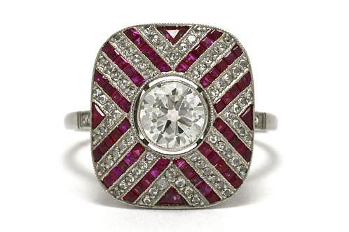 A diamond and ruby stripe art deco engagement ring