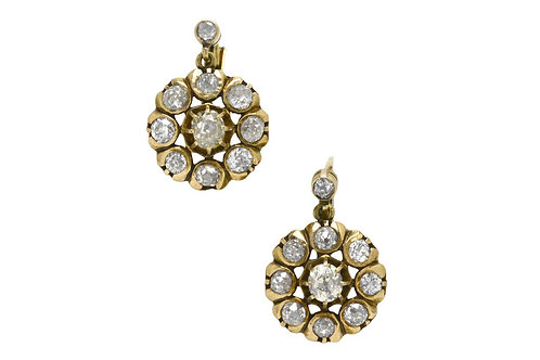 A pair of Victorian dangle drop diamond antique cluster earrings
