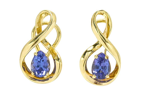 tanzanite earrings 14k yellow gold figure 8