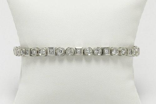 Over 3 carat diamonds white gold line bracelet