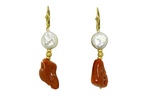 Natural coral button pearl earrings