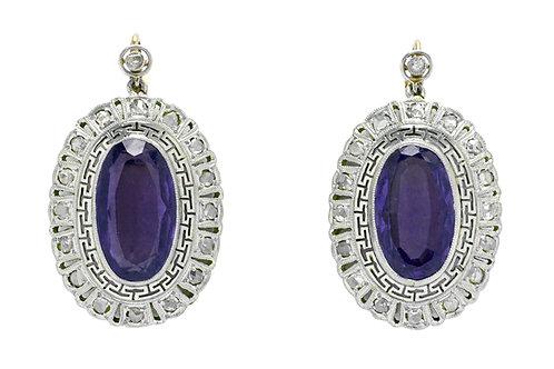 Earrings oval amethyst diamond halo Art Deco