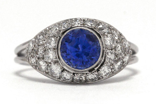 Round faceted blue sapphire diamond bombe Art Deco engagement ring
