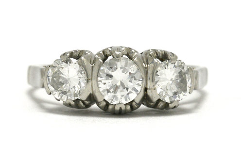3 stone diamond Art Deco engagement ring