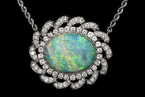 Natural Australian opal and diamonds pendant necklace