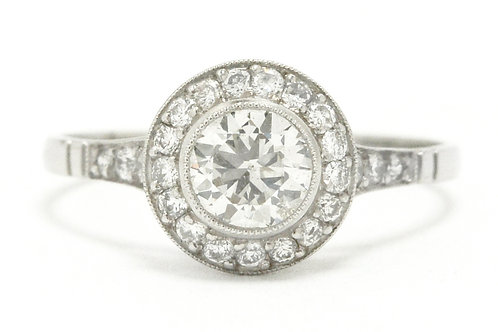 Arroyo Grande revivalist Edwardian old European diamond engagement ring platinum