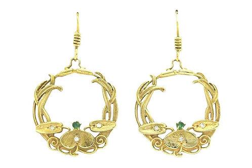 Emerald and diamond yellow gold hoop earrings