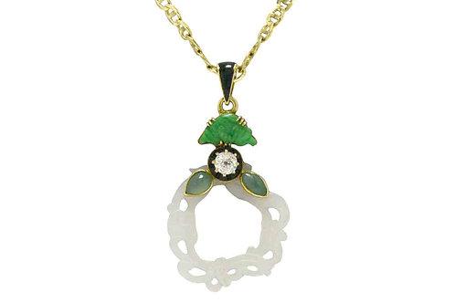 Arts & Crafts jade pendant diamond