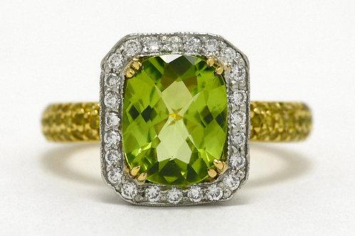Peridot Diamond Halo Rings