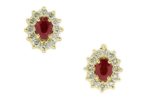 Heirloom ruby diamond target earrings.