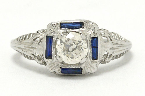 San Bernardino square antique Art Deco diamond engagement ring