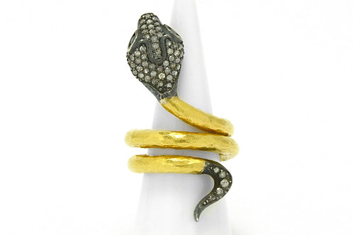 Diamond gold and silver snake cocktail ring