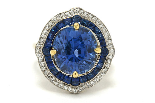 Plano GIA certified 7 carat sapphire engagement ring