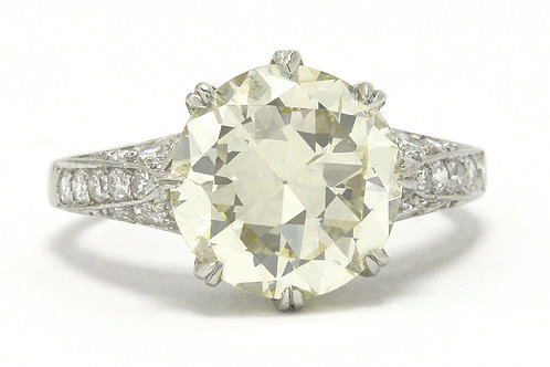 4 carat old European diamond Edwardian solitaire engagement ring