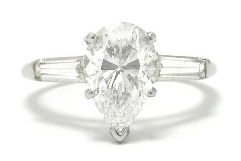 Santa Barbara GIA certified 2 carat pear cut diamond engagement ring.