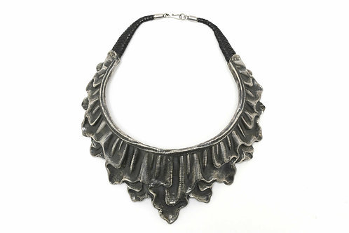 Wide repousse silver choker statement necklace