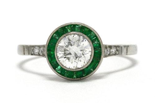 Art Deco Diamond Solitaire Engagement Ring Platinum Round Emerald Halo Target