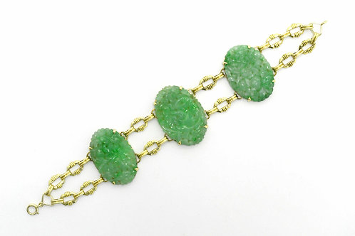 Art Deco natural jadeite bracelet