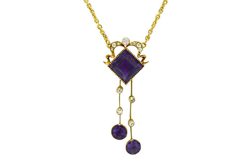 Art Nouveau amethyst diamond drop lavalier necklace