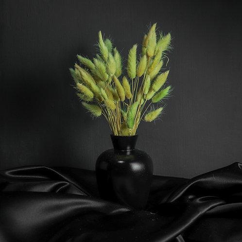 Green Rabbits in Black Wood Vase