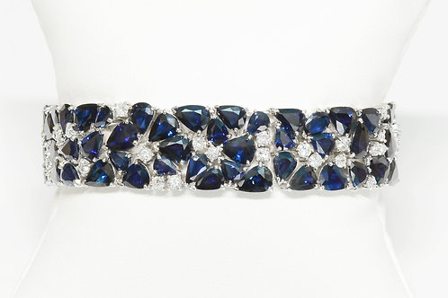 Bracelet 60 carat blue sapphire and diamond