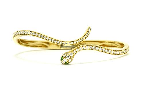 Gold snake bangle bracelet diamond