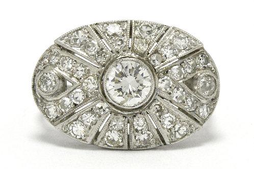 Amarillo Art Deco diamond sunburst cocktail ring