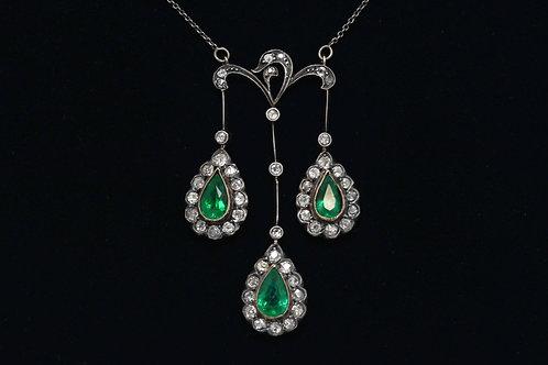 Emeralds Diamonds Pendant Necklace