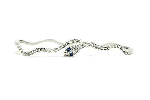 Egyptian revival pave' diamond snake bangle bracelet
