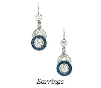 Art Deco diamond sapphire halo drop dangle earrings.