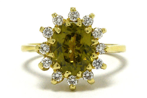 Oval yellow sapphire diamond target engagement ring