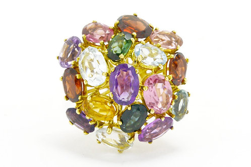 Gemstone dome cocktail ring.