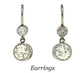2 diamond drop dangle earrings