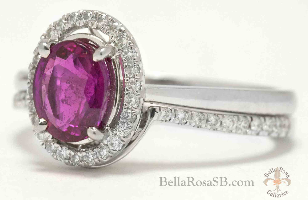 Santa Barbara, jewelry stores, custom bridal set, ruby & diamond, untreated ruby, bridal set, custom band