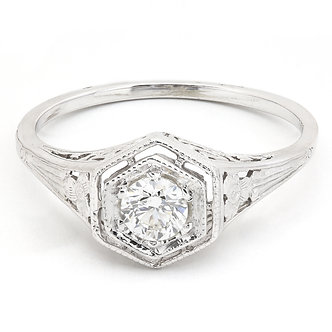 Hexagon Fancy Filigree Diamond Ring Metal Options