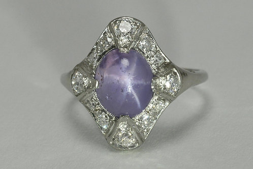 lavender oval star sapphire diamond cocktail ring