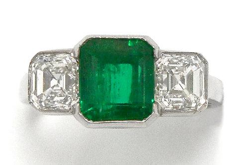 Palo Alto Colombian emerald 3 stone Art Deco engagement ring