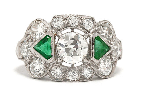 McKinney Art Deco diamond and emerald three stone engagement ring
