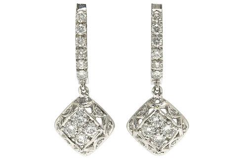 Diamond drop dangle earrings made from 18k white gold