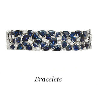 Antique blue sapphires and diamonds bracelet over 50 carats