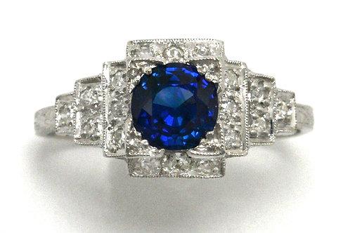 Denver Art Deco sapphire engagement ring
