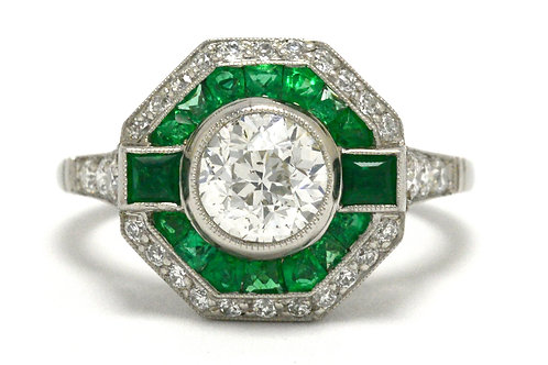 Transitional round brilliant diamond octagon Art Deco vintage engagement ring