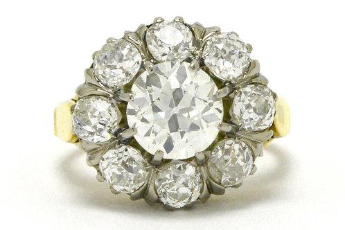 Dallas antique cluster diamond engagement ring