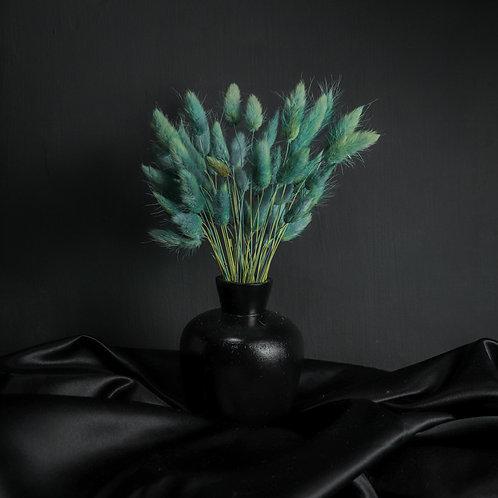 Blue Rabbits in Black Wood Vase