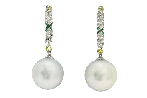 Drop dangle earrings platinum Art Deco